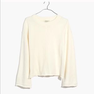 Madewell bell sleeve crew sweater in cream S